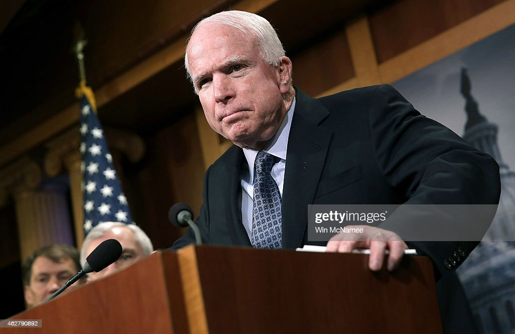 Sen John McCain speaks during a press conference at the US Capitol February 5 2015 in Washington DC McCain and a group of bipartisan senators spoke...