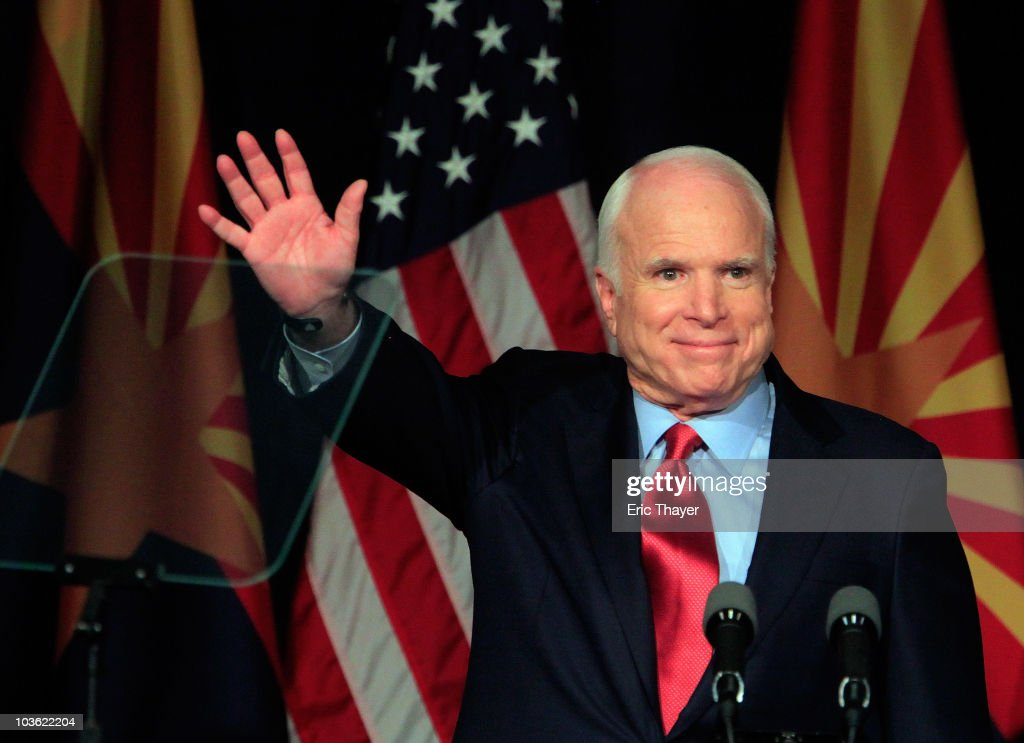 U.S. Sen. <a gi-track='captionPersonalityLinkClicked' href=/galleries/search?phrase=John+McCain&family=editorial&specificpeople=125177 ng-click='$event.stopPropagation()'>John McCain</a> (R-AZ) speaks to a group of supporters at his victory party after winning Arizona's primary election August 24, 2010 in Phoenix, Arizona. McCain, seeking a 5th term as a U.S. Senator from Arizona, defeated challenger J.D. Hayworth in Tuesday's primary.