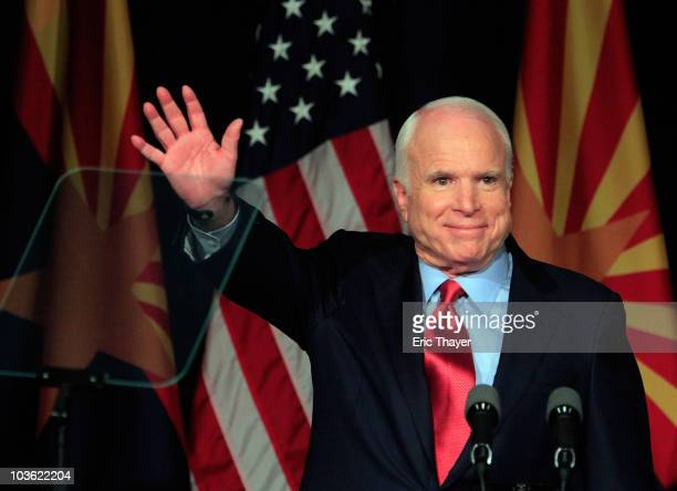 S Sen John McCain speaks to a group of supporters at his victory party after winning Arizona's primary election August 24 2010 in Phoenix Arizona...