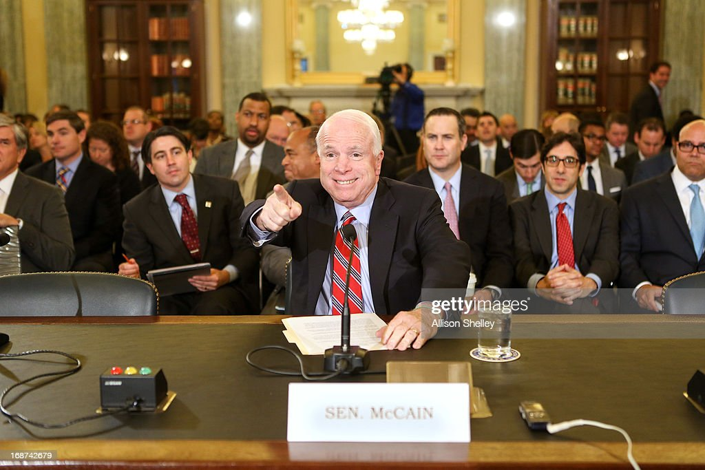Sen John McCain testifies before a Senate Commerce Science and Transportation Committee hearing on the state of video on Capitol Hill May 14 2013 in...