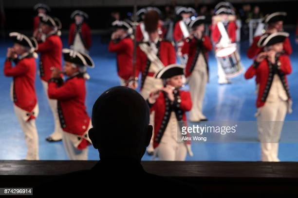 S Sen John McCain watches a special Twilight Tattoo performance November 14 2017 at Fort Myer in Arlington Virginia US Sen McCain was honored with...
