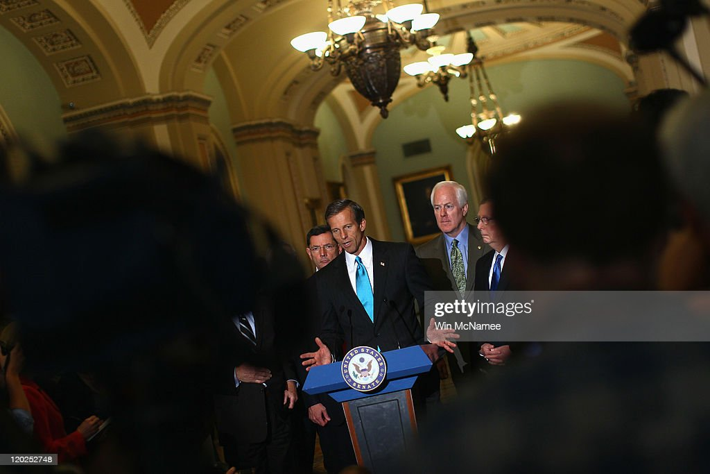Sen. John Thune (R-SD) speaks after the Senate voted on the debt limit bill at the U.S. Capitol on August 2, 2011 in Washington, DC. The Senate voted 74-26 to approve the bill to raise the debt ceiling, allowing the U.S. to avoid default on its debts.