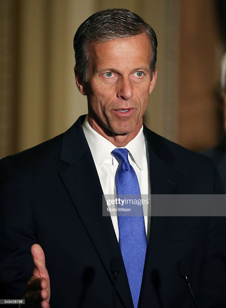 Sen. John Thune (R-SD), speaks to reporters on Capitol Hill, June 28, 2016 in Washington, DC. The Senate lawmakers addressed the press affter their weekly policy luncheons.