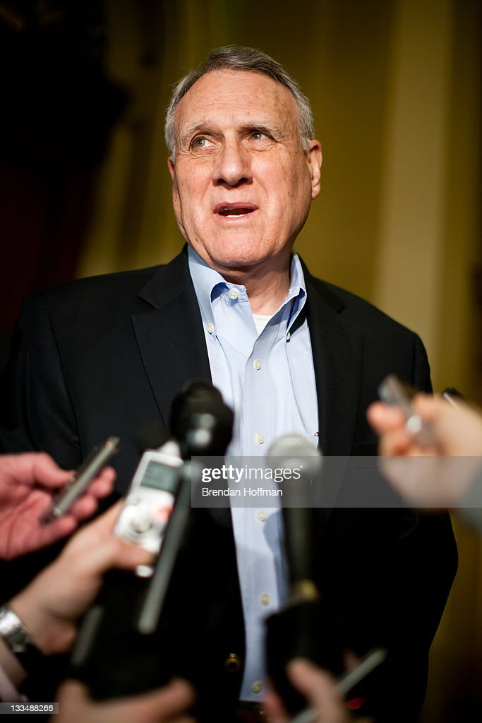 Sen. <a gi-track='captionPersonalityLinkClicked' href=/galleries/search?phrase=Jon+Kyl&family=editorial&specificpeople=227108 ng-click='$event.stopPropagation()'>Jon Kyl</a> (R-AZ), a member of the Joint Select Committee on Deficit Reduction, also known as the super committee, talks with reporters outside his office in the U.S. Capitol on November 19, 2011 in Washington, DC. The bipartisan panel faces a Wednesday deadline to reach a deficit reduction agreement.
