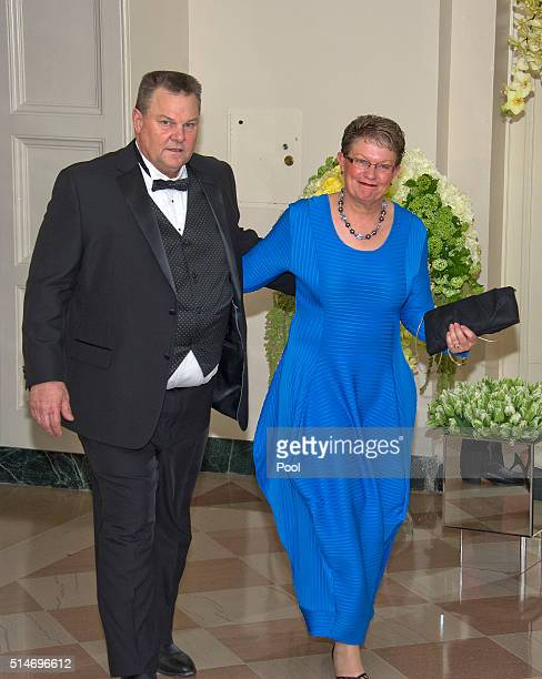 Sen Jon Tester and Sharla Tester arrive for the State Dinner in honor of Prime Minister Trudeau and Mrs Sophie Trudeau of Canada at the White House...