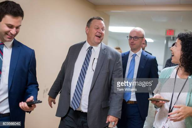 Sen Jon Tester DMont talks with reporters in the senate subway before a lunch in the Capitol on July 27 2017