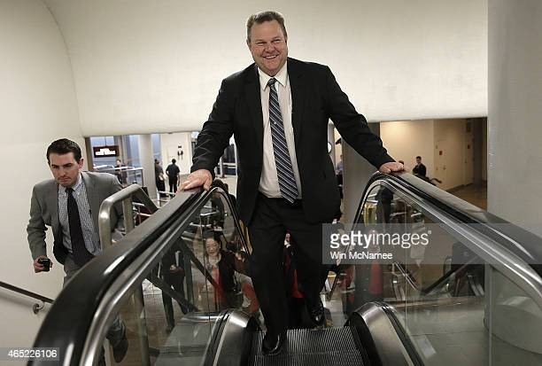Sen Jon Tester rushes to the Senate chamber to vote on an attempt to override US President Barack Obama's veto of the Keystone XL Pipeline...