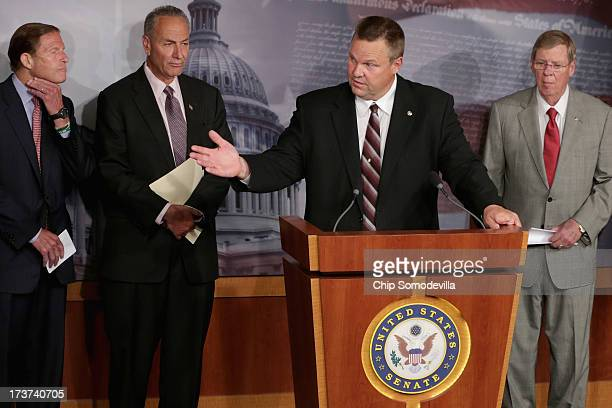 S Sen Jon Tester speaks during a news conference about media shield legislation cosponsored by US Sen Richard Blumenthal US Sen Charles Schumer US...