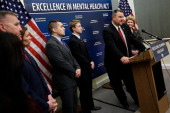 S Sen Jon Tester speaks during a press conference calling for passage of mental health legislation as part of a gun safety package with US Sen Debbie...