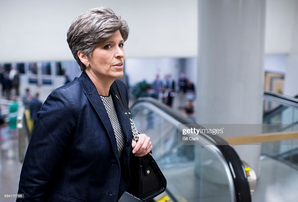 Sen. Joni Ernst (R-IA) arrives for votes in the Capitol on Wednesday, May 25, 2016.