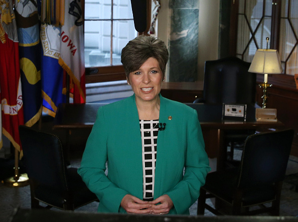 S Sen Joni Ernst practices the Republican response she will give after US President Obama's State of the Union address on Capitol Hill January 20...