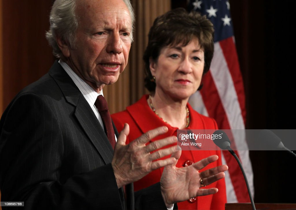 S Sen Joseph Lieberman speaks as Sen Susan Collins listens during a news conference on Capitol Hill February 1 2011 in Washington DC Lieberman and...