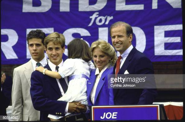 Sen Joseph R Biden Jr standing with his family after announcing his candidacy for the Democratic presidential nomination