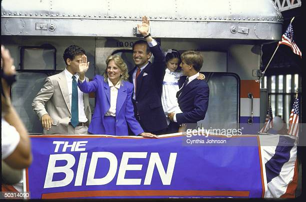 Sen Joseph R Biden Jr standing with his family on back of a train after announcing his candidacy for the Democratic presidential nomination