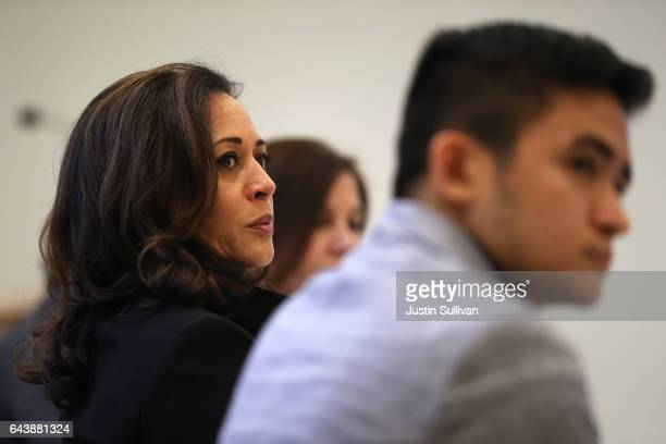 S Sen Kamala Harris attends a Policy Forum on Immigration at the California Endowment on February 22 2017 in Los Angeles California Harris held two...