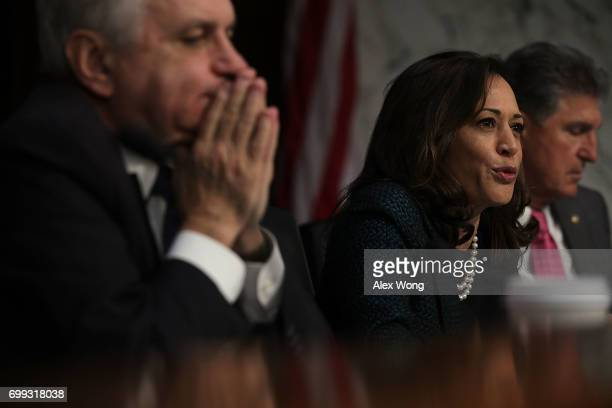 S Sen Kamala Harris speaks during a hearing before the Senate Intelligence Committee June 21 2017 on Capitol Hill in Washington DC The committee held...
