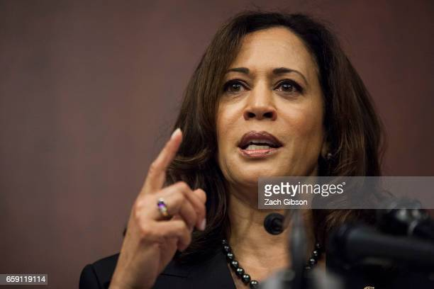 Sen Kamala Harris speaks during a news conference on Capitol Hill on March 28 2017 in Washington DC The news conference which worked with the...