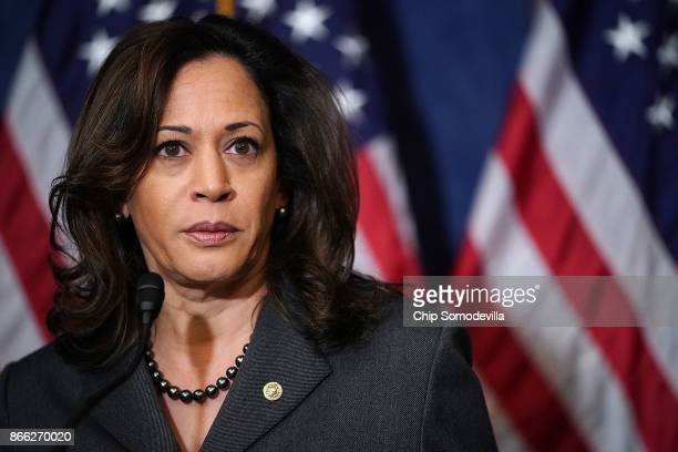 Sen Kamala Harris speaks during a news conference with fellow Democrats 'Dreamers' and university presidents and chancellors to call for passage of...