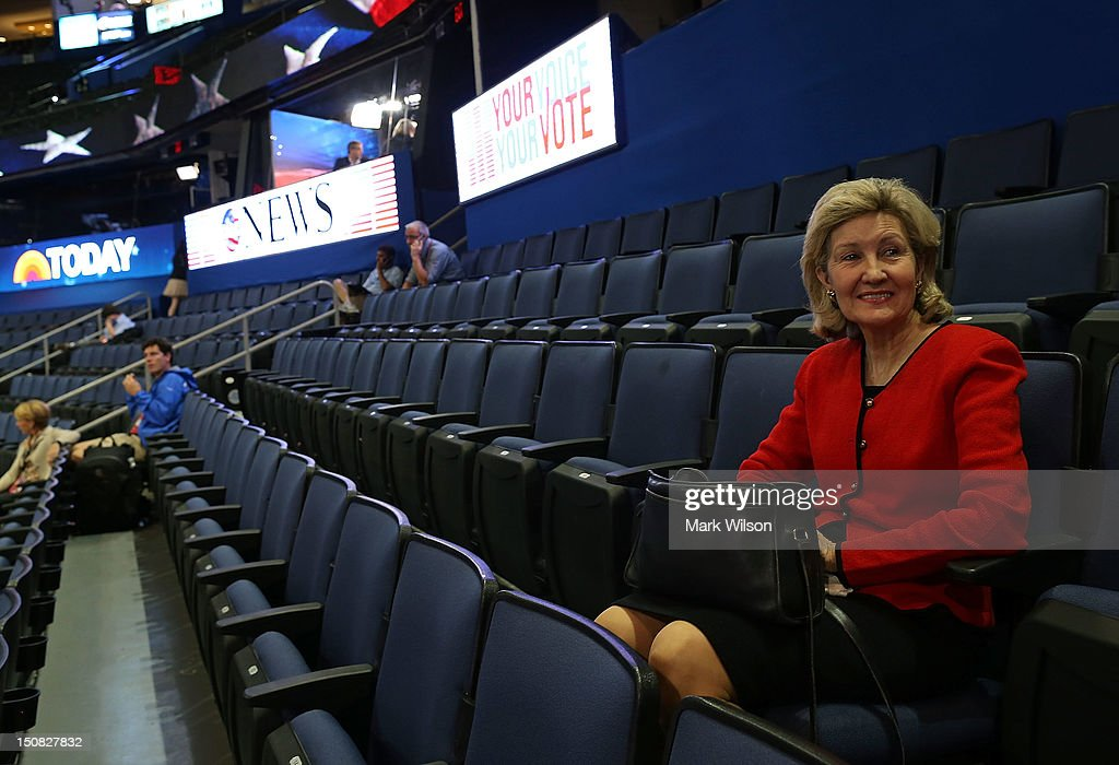 U.S. Sen. Kay Bailey Hutchison (R-TX) (R) arrives early at the Tampa Bay Times Forum on the abbreviated first day of the Republican National Convention August 27, 2012 in Tampa, Florida. Organizers decided to delay the start of the convention as the projected path of Tropical Storm Isaac' put the storm blowing past Tampa and into the Gulf of Mexico.