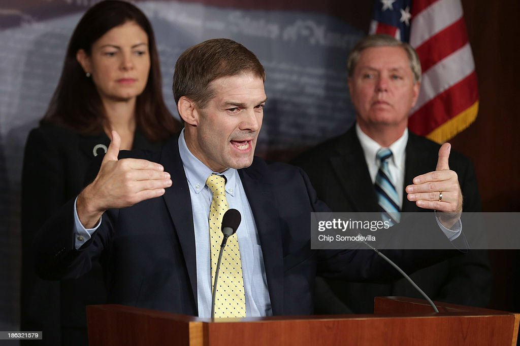 Sen. Kelly Ayotte (R-NH), Rep. Jim Jordan (R-OH) and Sen. Lindsey Graham (R-SC) hold a news conference about Benghazi at the U.S. Capitol October 30, 2013 in Washington, DC. Graham said he would put a hold on all Obama Administration nominations pending in the Senate until Congress is given access to survivors of the September 11, 2012 attack on the U.S. Consulate in Benghazi, Libya, that killed Ambassador Chris Stevens and three other Americans.