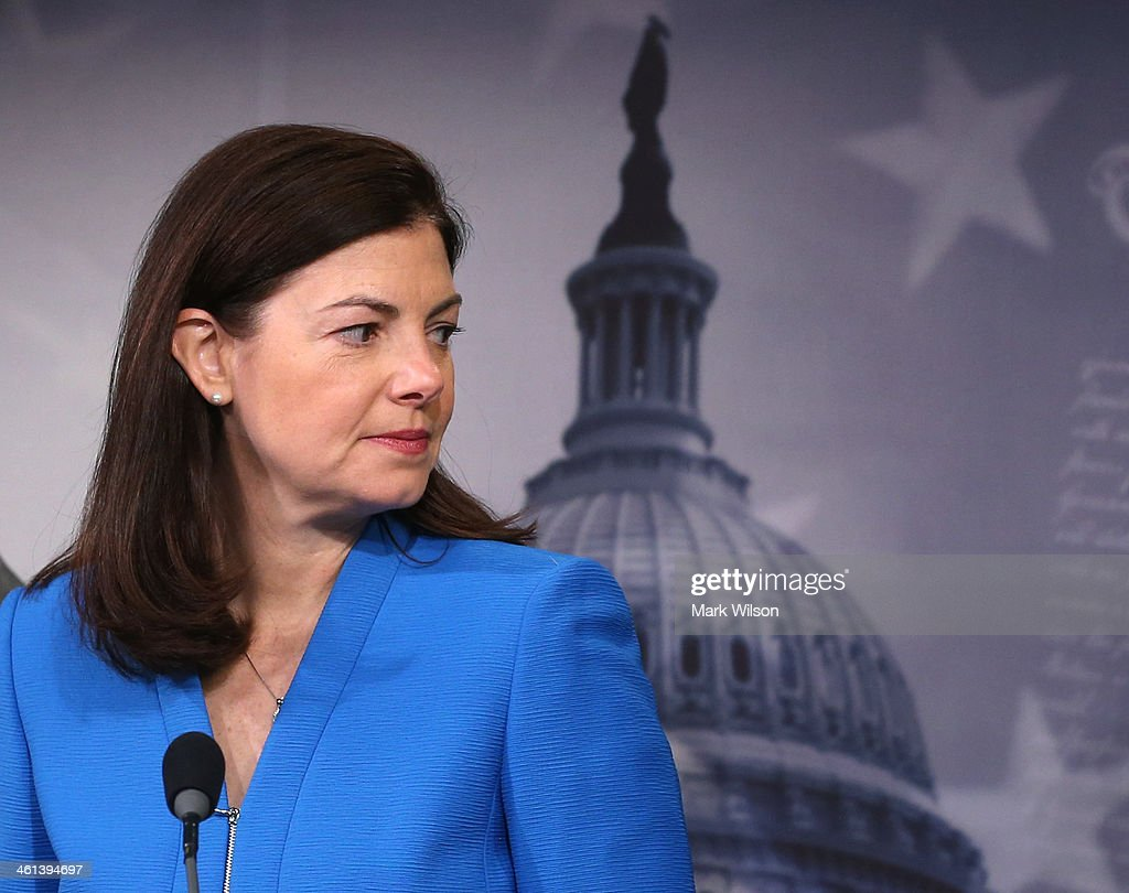 Sen. Kelly Ayotte (R-NH) speaks about unemployment insurance during a news conference at the US Capitol, January 8, 2013 in Washington, DC. Sen. Ayotte announced an amendment to unemployment benefits legislation that would pay for a three month extension of temporary long term unemployment benefits and repeal the unfair Cost of Living Allowance reduction for military retirees.