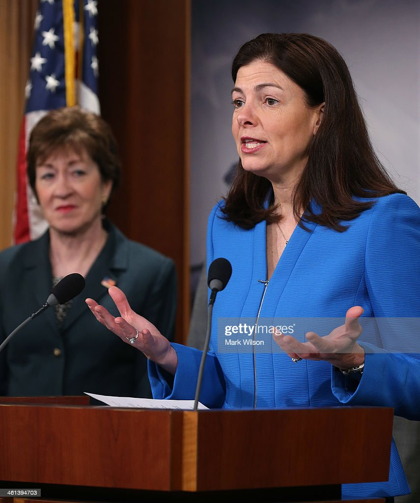 Sen. <a gi-track='captionPersonalityLinkClicked' href=/galleries/search?phrase=Kelly+Ayotte&family=editorial&specificpeople=6986995 ng-click='$event.stopPropagation()'>Kelly Ayotte</a> (R-NH) speaks about unemployment insurance while flanked by Sen. <a gi-track='captionPersonalityLinkClicked' href=/galleries/search?phrase=Susan+Collins&family=editorial&specificpeople=212962 ng-click='$event.stopPropagation()'>Susan Collins</a> (R-ME) (L) during a news conference at the US Capitol January 8, 2013 in Washington, DC. Sen. Ayotte announced an amendment to unemployment benefits legislation that would pay for a three month extension of temporary long term unemployment benefits and repeal the unfair Cost of Living Allowance reduction for military retirees.