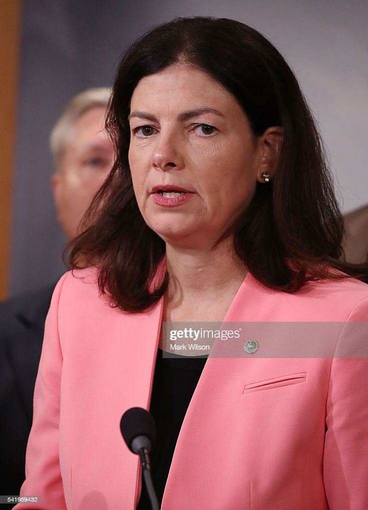 Sen. <a gi-track='captionPersonalityLinkClicked' href=/galleries/search?phrase=Kelly+Ayotte&family=editorial&specificpeople=6986995 ng-click='$event.stopPropagation()'>Kelly Ayotte</a> (R-NH). speaks while flanked by bipartian Senate colleagues during a news conference on Capitol Hill, June 21, 2016 in Washington, DC. Ayotte joined a bipartisan group of Senators to announce a measure that would block people on the Transportation Security Administration's no-fly list from buying firearms. The measure also includes a list that would subject individuals to additional screening before boarding a plane.