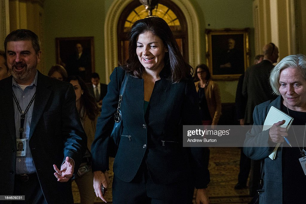 Sen. <a gi-track='captionPersonalityLinkClicked' href=/galleries/search?phrase=Kelly+Ayotte&family=editorial&specificpeople=6986995 ng-click='$event.stopPropagation()'>Kelly Ayotte</a> (R-NH) walks through the Capitol Building on October 14, 2013 in Washington, DC. As Democratic and Republican leaders negotiate an end to the shutdown and a way to raise the debt limit, the White House postponed a planned Monday afternoon meeting with Boehner and other Congressional leaders. The government shutdown is currently in its 14th day.