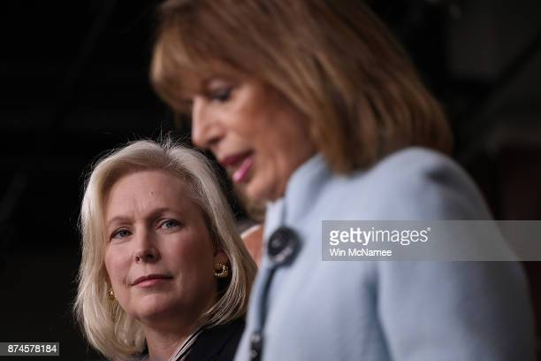 Sen Kirsten Gillibrand and Rep Jackie Speier speak at a press conference on sexual harassment in Congress on November 15 2017 in Washington DC...