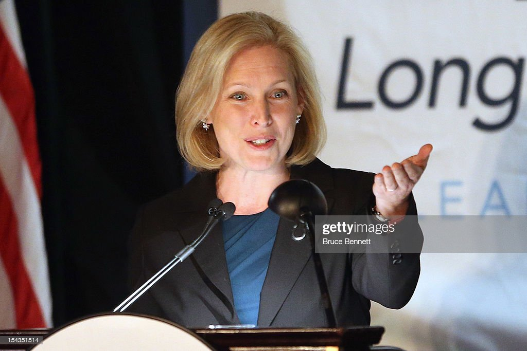 U.S. Sen. <a gi-track='captionPersonalityLinkClicked' href=/galleries/search?phrase=Kirsten+Gillibrand&family=editorial&specificpeople=4099377 ng-click='$event.stopPropagation()'>Kirsten Gillibrand</a> (D-NY) attends an appearance by former Vice President Dick Cheney speaks at the Long Island Association fall luncheon at the Crest Hollow Country Club on October 18, 2012 in Woodbury, New York. Cheney discussed foreign and domestic issues, including the upcoming presidential election, at the business organization's luncheon.