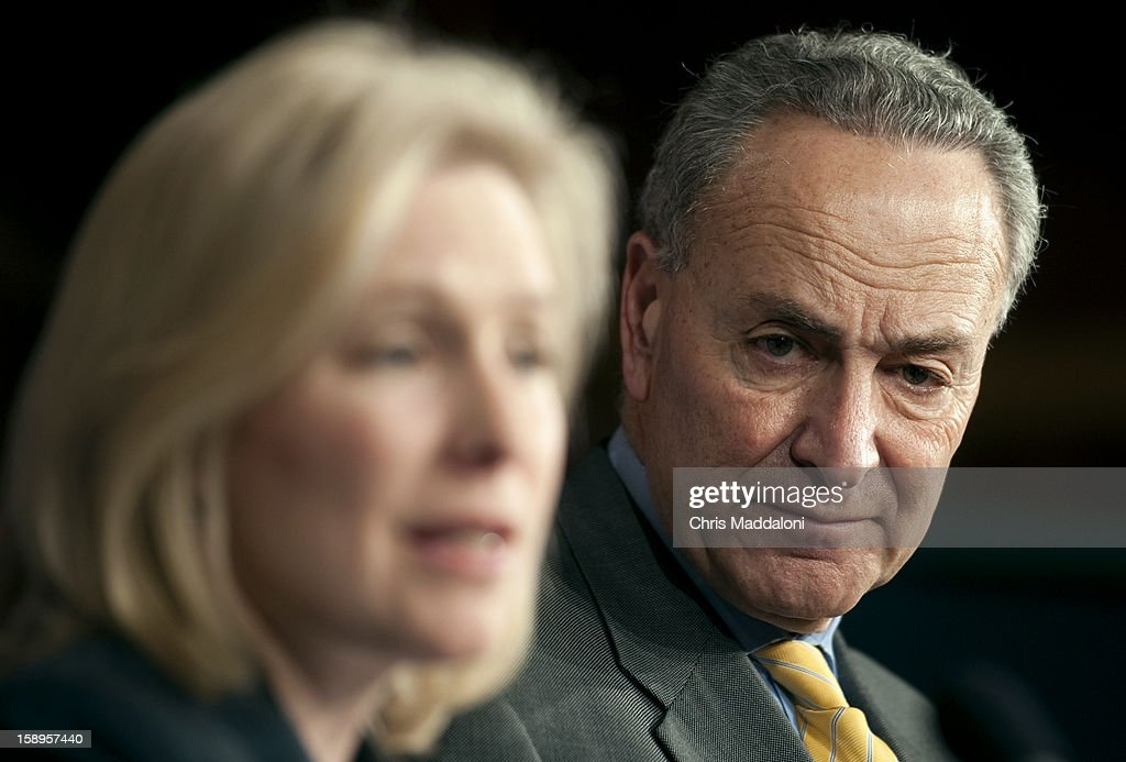 Sen. Kirsten Gillibrand, D-N.Y., and Sen. Chuck Schumer, D-N.Y., speak at a press conference about the Senate's passage of a bill that would allow insurance claims of property owners hit by last October's super-storm Sandy, approving $9.7 billion in additional borrowing authority for the National Flood Insurance Program (NFIP) which covers property owners in flood-prone areas.