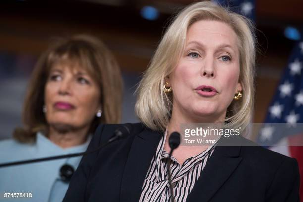 Sen Kirsten Gillibrand DNY right and Rep Jackie Speier DCalif hold a news conference in the Capitol Visitor Center to introduce legislation that aims...