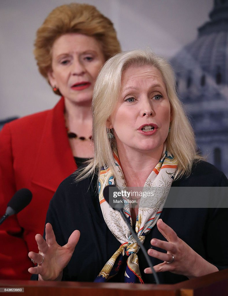 Sen. Kirsten Gillibrand (D-NY),(R), speaks about the Senate's recent failed vote for funding to fight the Zika virus, on Capitol Hill June 29, 2016 in Washington, DC. Also pictured is Sen. Debbie Stabenow