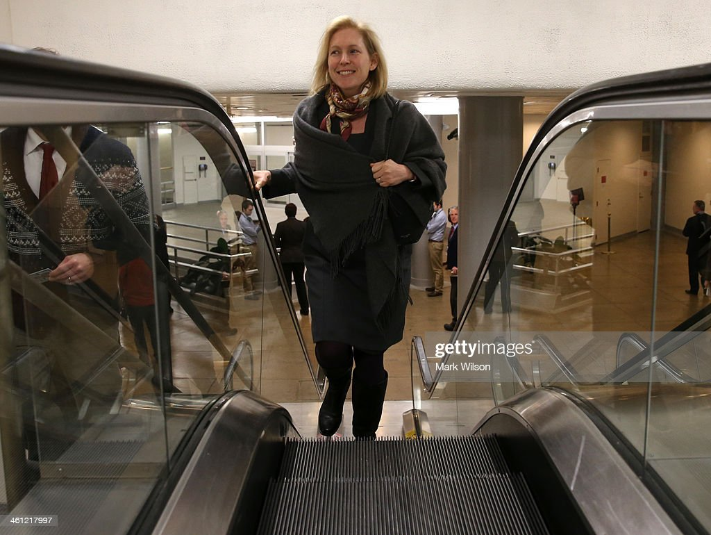 U.S. Sen. <a gi-track='captionPersonalityLinkClicked' href=/galleries/search?phrase=Kirsten+Gillibrand&family=editorial&specificpeople=4099377 ng-click='$event.stopPropagation()'>Kirsten Gillibrand</a> (D-NY) walks to the Senate chamber for the cloture vote on unemployment insurance, at the US Capitol, January 7, 2014 in Washington, DC. The US Senate voted 60-37 to move forward with a bill to extend federal unemployment benefits for three months.