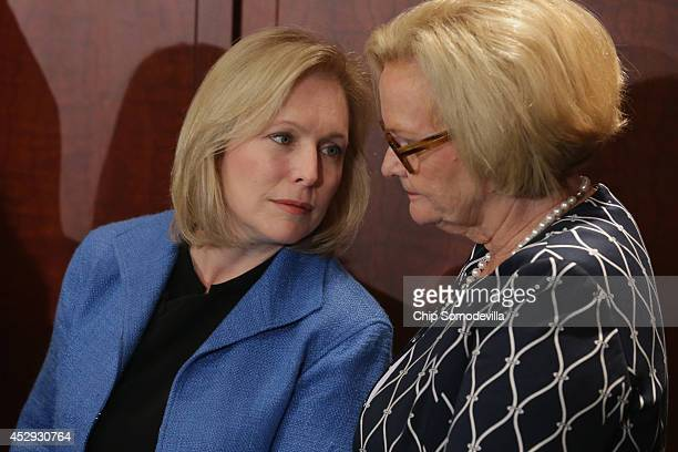 Sen Kristen Gillibrand and Sen Claire McCaskill hold a news conference about new legislation aimed at curbing sexual assults on college and...