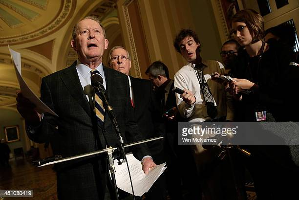 Sen Lamar Alexander and Senate Minority Leader Mitch McConnell speak at a press conference after the US Senate passed the 'nuclear option' a...