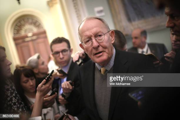 Sen Lamar Alexander answers questions following the weekly Republican policy luncheon at the US Capitol on October 17 2017 in Washington DC Alexander...