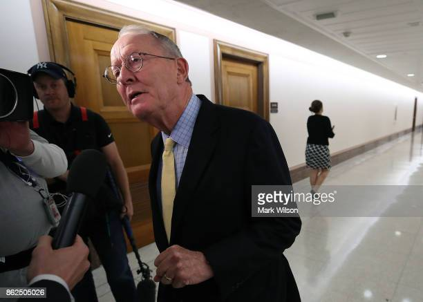 Sen Lamar Alexander speaks to the media about a possible bipartisan agreement with Democrats to fund key Affordable Care Act insurance subsidies on...