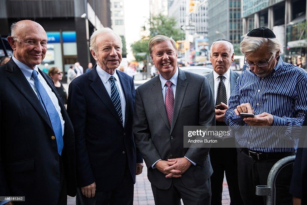 S Sen Lindsey Graham and former US Sen Joe Lieberman wait to speak at a 'Stop Iran Rally' regarding the Iran nuclear deal on September 1 2015 in New...