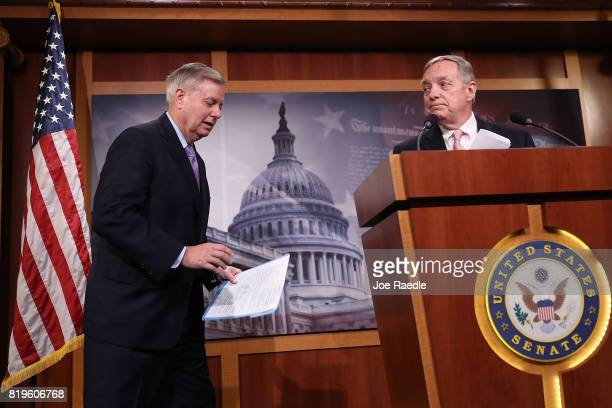 Sen Lindsey Graham and Senate Minority Whip Dick Durbin attend a press conference about the Dream Act of 2017 in the Capitol building on July 20 2017...