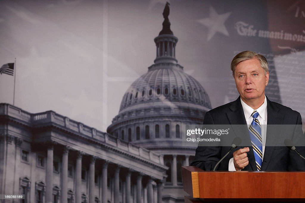 U.S. Sen. <a gi-track='captionPersonalityLinkClicked' href=/galleries/search?phrase=Lindsey+Graham&family=editorial&specificpeople=240214 ng-click='$event.stopPropagation()'>Lindsey Graham</a> (R-SC) hold a news conference after the senate voted 99-0 in favor of a resolution in support of Israel May 22, 2013 in Washington, DC. The resolution 'expresses concerns about the Iranian nuclear threat and urges that if Israel is compelled to take action in self-defense, the United States will stand with Israel and provide diplomatic, military, and economic support in its defense of its territory, people, and existence.'