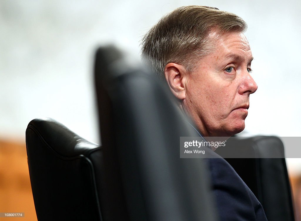 U.S. Sen. Lindsey Graham (R-SC) pauses during a markup hearing for the Kagan confirmation before the Senate Judiciary Committee July 20, 2010 on Capitol Hill in Washington, DC. The committee has voted 13-6, in favor of President Obama�s nomination of Elena Kagan to become an Associate Justice of the Supreme Court of the United States, to replace Justice John Paul Stevens who has retired on June 29, 2010. Sen. Graham has casted the only Republican vote for Kagan.