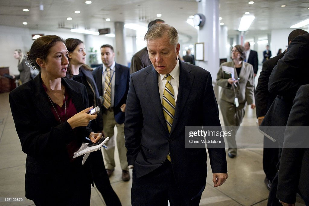 Sen. Lindsey Graham, R-S.C., arrives for an all-Senators briefing on the ongoing investigation in the Boston Marathon bombings.