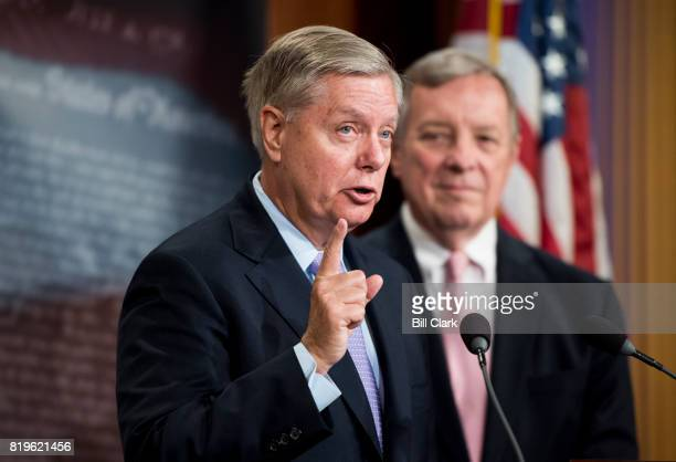 Sen Lindsey Graham RSC left and Senate Minority Whip Dick Durbin DIll hold a news conference to discuss the bipartisan 'The Dream Act of 2017' in the...