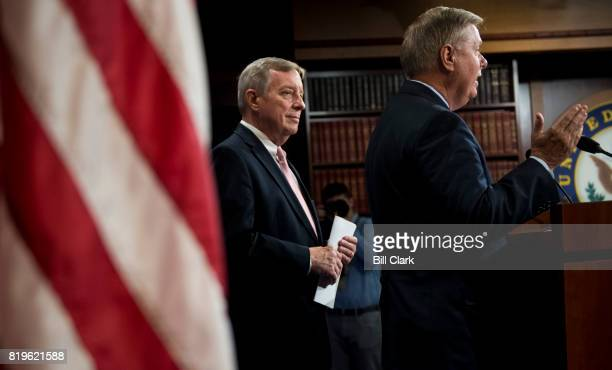 Sen Lindsey Graham RSC right and Senate Minority Whip Dick Durbin DIll hold a news conference to discuss the bipartisan 'The Dream Act of 2017' in...