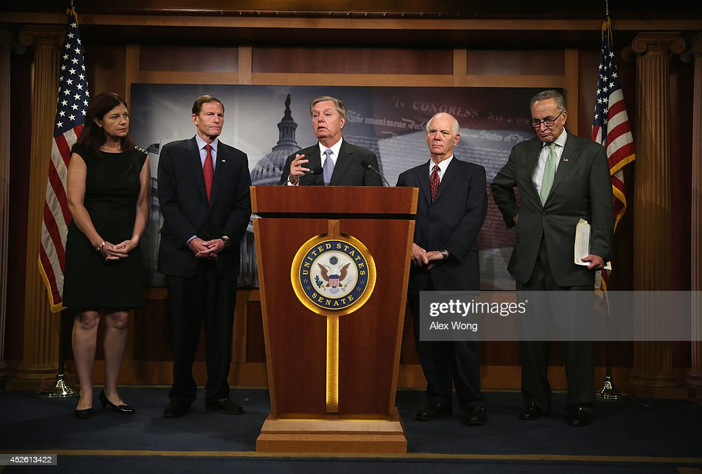U.S. Sen. Lindsey Graham (R-SC) (3rd L) speaks as (L-R) Sen. Kelly Ayotte (R-NH), Sen. Richard Blumenthal (D-CT), Sen. Benjamin Cardin (D-MD) and Sen. Charles Schumer (D-NY) listen during a news conference July 24, 2014 on Capitol Hill in Washington, DC. The senators held a news conference to discuss the conflict between Israel and Hamas.