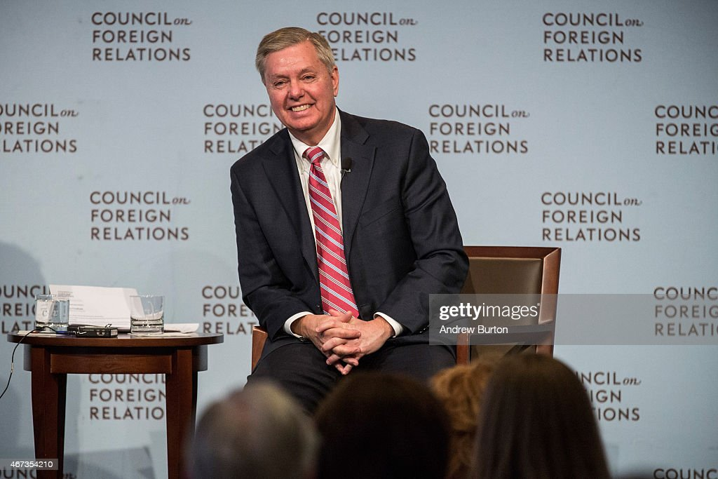 U.S. Sen. <a gi-track='captionPersonalityLinkClicked' href=/galleries/search?phrase=Lindsey+Graham&family=editorial&specificpeople=240214 ng-click='$event.stopPropagation()'>Lindsey Graham</a> (R-SC) speaks at the Council On Foreign Relations on March 23, 2015 in New York City. Graham spoke extensively on U.S. relations with Iran and the ongoing nuclear deal being brokered.