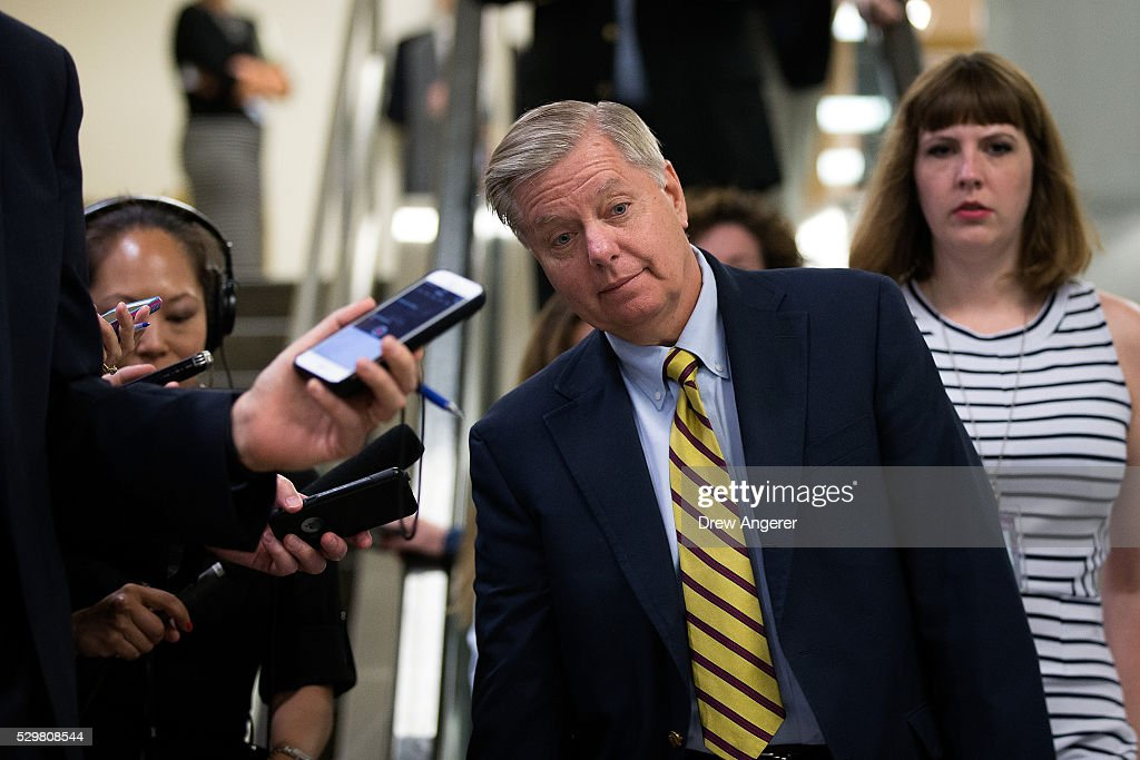 Sen. Lindsey Graham (R-SC) speaks with reporters after a vote at the U.S. Capitol, May 9, 2016, in Washington, DC. Senate Democrats defeated a procedural vote on an energy bill, which increases funding for the Department of Energy and Army Corps of Engineers.
