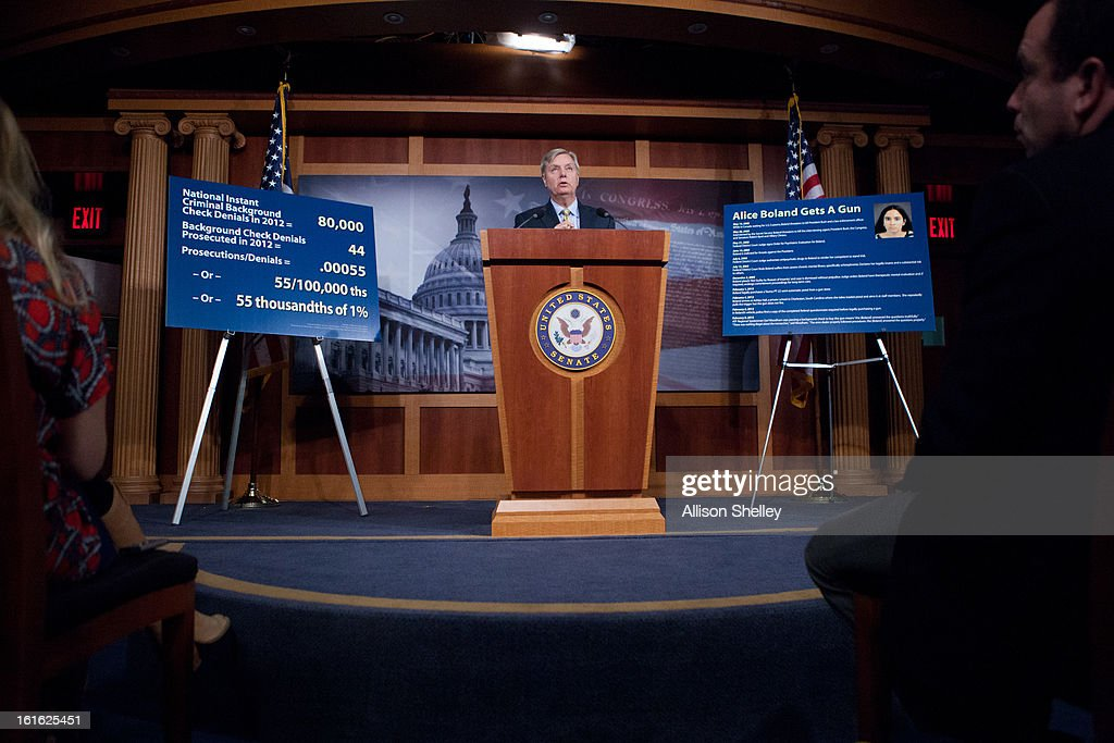 Sen. Linsey Graham (R-SC) speaks to the media about gun control regulation at a press conference on Capitol Hill in Washington D.C., February 13, 2013. Graham cited the case of a woman named Alice Boland who was able to buy a gun, which she allegedly used to try to kill a school official, despite being previously diagnosed with paranoid schizophrenia and having faced federal charges for threatening to kill President George W. Bush.