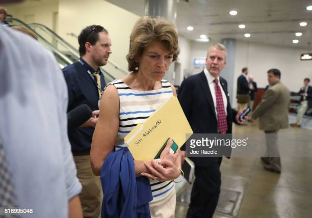Sen Lisa Murkowski arrives for an allsenators closed briefing on ISIL in the US Capitol on July 19 2017 in Washington DC The Senators were receiving...